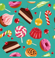 sweets seamless pattern candy cupcake holiday vector image vector image
