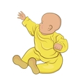 The baby in yellow pajamas sitting vector image
