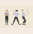 three mimes juggle and play harmonica vector image