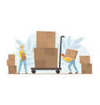 tiny warehouse workers loading huge boxes on cart vector image vector image