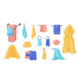towels cartoon terry cloth hanging on holder vector image