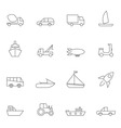Transport icon set outline vector image