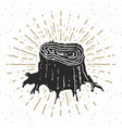 tree stump vintage label hand drawn sketch grunge vector image