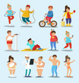 weight loss characters set vector image vector image