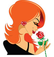 Woman with rose cartoon vector image vector image