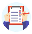 cartoon hands holding pen and checklist vector image