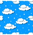 Seamless wallpaper with clouds and snowflakes vector image