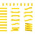yellow ribbons set ribbon banners flat vector image