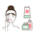 woman cleans face skin with lotions and tonics vector image