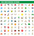 100 decision icons set cartoon style vector image