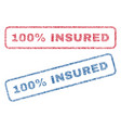 100 percent insured textile stamps vector image vector image