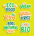 100 percent organic vegan bio eco sign set vector image