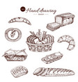 bakery monochrome hand drawn set vector image vector image