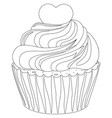 black and white cupcake poster heart topping vector image