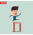 Business Man jumping over an obstacle on the way vector image vector image