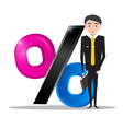businessman in suit with percent icon business vector image vector image