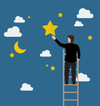 Businessman on the ladder trying to catch the star vector image vector image