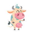 cartoon cute white spotted cow vector image