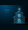 church building polygonal wireframe mesh on blue vector image vector image