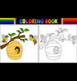 coloring book cartoon bees vector image vector image