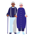 cute grandparents couple interracial characters vector image vector image