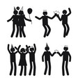 dynamic poses of people at party white silhouettes vector image vector image