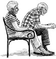 elderly spouse resting vector image vector image