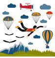 extreme selfie parachutist flat design vector image vector image