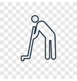 farmer hoeing concept linear icon isolated on vector image