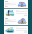 fishermen fishing from motorboat and from bank vector image vector image