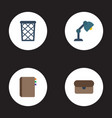 flat icons trash basket desk light suitcase and vector image vector image