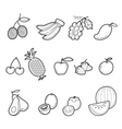 Fruits Outline Icons Set vector image vector image