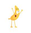 funny happy banana cartoon fruit character vector image
