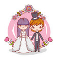 girl and boy couple marriage with branches vector image vector image