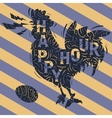 Happy Hour New Vintage Label With Crowing Rooster vector image vector image