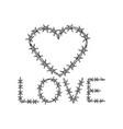 heart symbol barb wire sketch engraving vector image