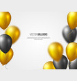 holiday banner with flying 3d glossy balloons vector image