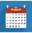 Leaf calendar 2017 with the month of August days vector image vector image
