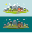 lonely house in the mountains by day and night vector image