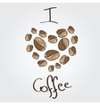 love coffee Coffee beans heart vector image vector image