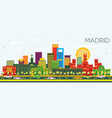 madrid spain city skyline with color buildings vector image vector image
