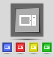 microwave icon sign on original five colored vector image vector image