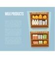 Milk products banner with supermarket shelves vector image