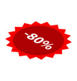minus 80 percent sale red icon isometric style vector image vector image