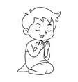 moslem boy hajj praying bw vector image vector image