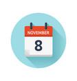 november 8 flat daily calendar icon date vector image vector image