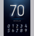 numbers alphabet silver metallic and effect vector image vector image
