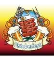 Oktoberfest label with beer pretzels and sausages vector image vector image