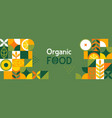 organic food banner in flat style vector image