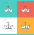 origami paper ships on sea waves vector image